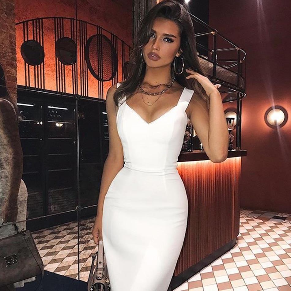 ADYCE 2020 New Summer White Bandage Dress Sexy Spaghetti Strap Sleeveless Bodycon Club Celebrity Evening Party Dress Vestidos