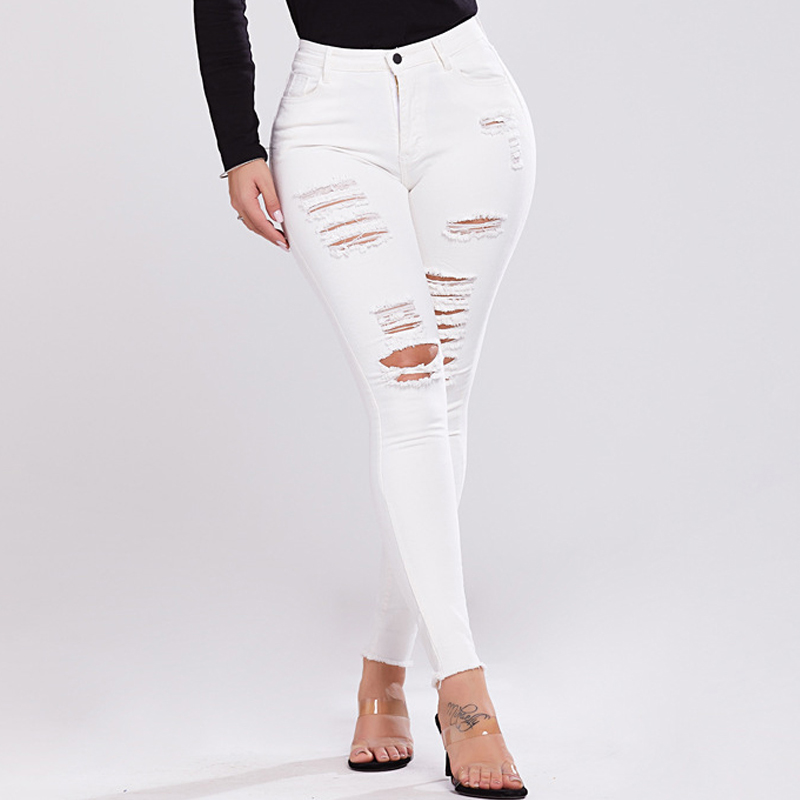 Inforin Women Stretch Jeans Female Mid Waist Stretch Slim Solid Pencil Pants