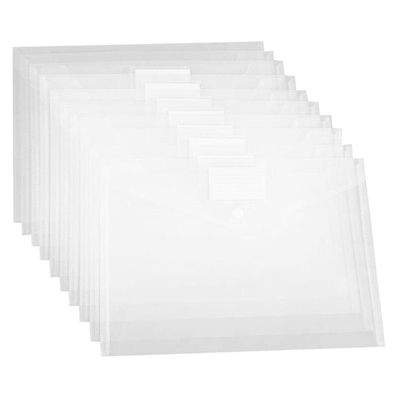 Plastic Envelope File Folder, 24 Letter A4 Size, Transparent Document Envelope With Label Bag And Snap, Transparent Filing Envel