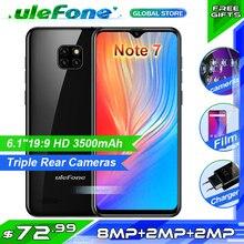 Ulefone Nota 7 Smartphone 6.1 de polegada MT6580A 16 1GB de RAM GB ROM Quad Core 3500mAh Face ID Três 9 traseira Câmeras Android Telefone Móvel