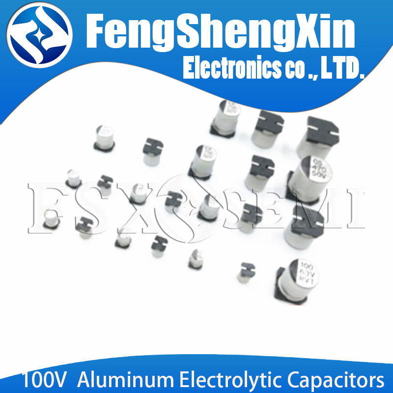 10pcs 100V SMD Aluminum Electrolytic Capacitors 4.7/2.2/3.3/4.7/10/22/33/47UF