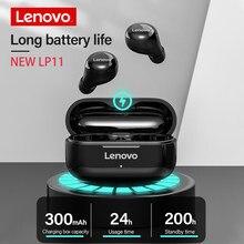 Lenovo-auriculares inalámbricos LP11 originales, cascos estéreo con cancelación de ruido, HiFi, táctiles, deportivos, IPX4 resistentes al agua, con micrófono HD