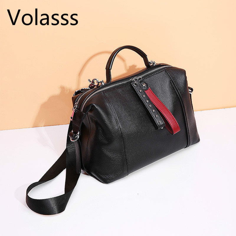 New Cowhide Messenger Bag Rivets Genuine Leather Black Women Handbag Fashion British Boston Bag Casual Tote Lady Shoulder Bags