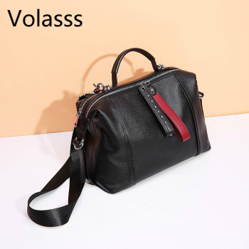 New Cowhide Messenger Bag Rivets Genuine Leather Black Women Handbag Fashion British Boston Bag Casual Tote Lady Shoulder Bags new women s bag fashion genuine leather handbags shoulder bags first layer cowhide bags korean casual women messenger bags