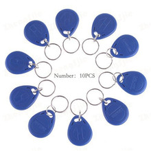 Zbliżeniowy EM4100 TK4100 125KHz RFID ID tag karty Token breloczek pilot tylko do odczytu kolor niebieski opakowanie 10 sztuk