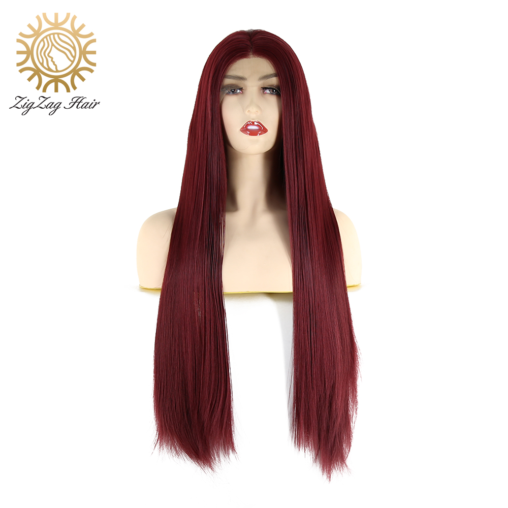 ZigZag Burgundy Color Synthetic Lace Front Wig for Black Women Wine Red Straight Glueless Heat Resistant Fiber Hair Daily Wear