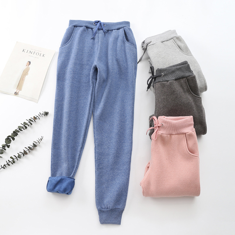 2019 Autumn Women Casual Gym Sweatpants Workout Fleece Trousers Solid Thin Winter Warm Female Sport Pants Running