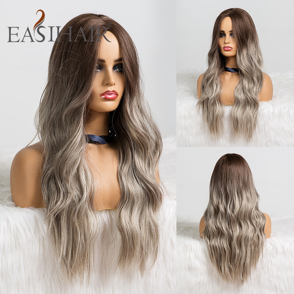 Image 5 - EASIHAIR Long Brown Ombre Synthetic Wigs For Women Afro High Density Temperature Glueless Wavy Cosplay Wigs Heat ResistantSynthetic None-Lace  Wigs   -