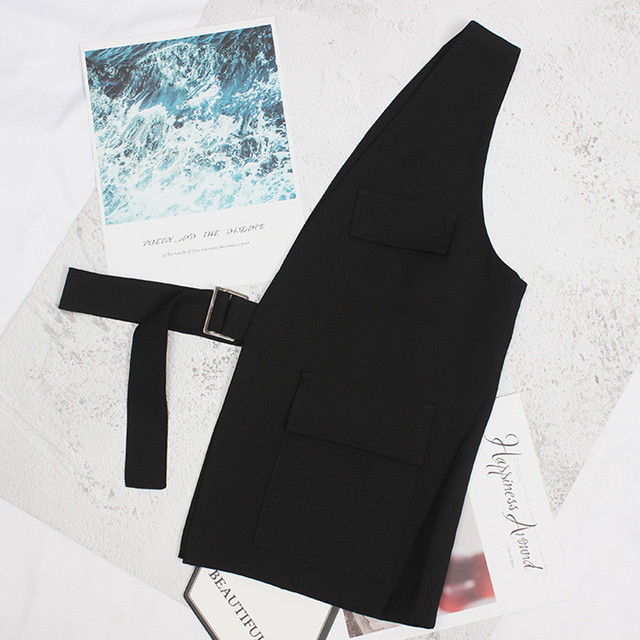 [EAM] Women Loose Fit Black One Side Buckle Split Joint Vest New V-collar Sleeveless   Fashion Tide Spring Autumn 2021 1Y958 6