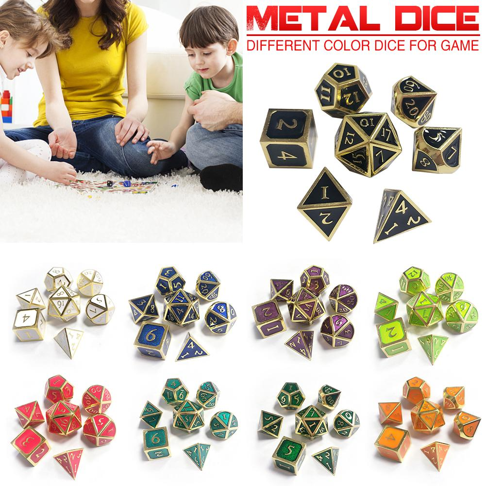7pcs/set Innovative Dice Uncovered For Dungeons Dragons Innovative Polyhedral RPG Dice Metal Dice Set Table Games