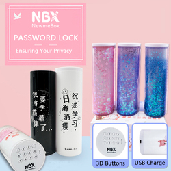 NBX Combination Password Lock Pencil Box Office School Supplies Girl Kawaii Pencil Case Multifunctional Large Makeup Stationery