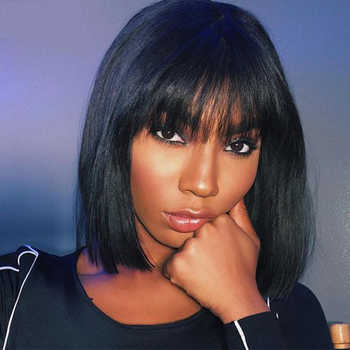 13x6 Lace Front Human Hair Wigs With Bangs Short Bob Wig Pre Plucked With Baby Hair Straight Frontal Wigs Remy Black Dolago 150% - DISCOUNT ITEM  30% OFF All Category