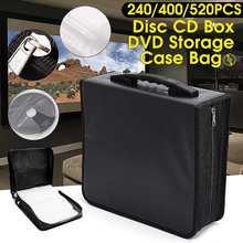 Ручной 240/400/520 диски CD DVD кошелек сумка для хранения чехол альбом Органайзер медиа-продукции черного цвета из искусственной кожи диски коробка для хранения