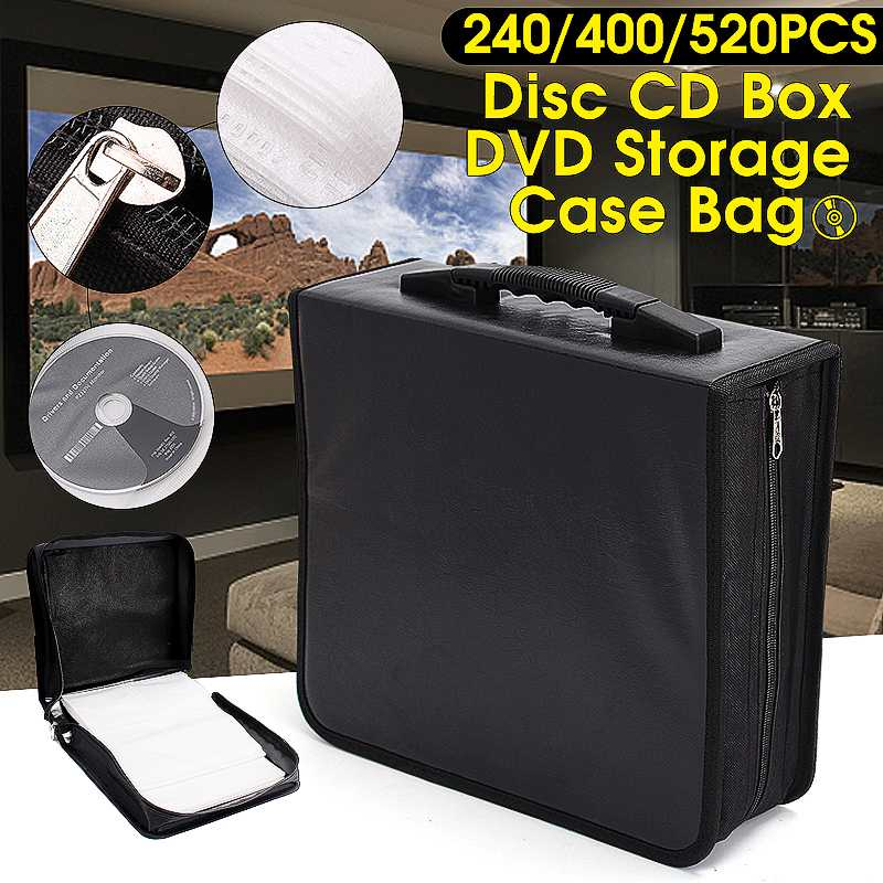 Handheld 240 400 520 Discs CD DVD Wallet Storage Bag Case Album Organizer Media Products Black PU Leather Discs Storage Box