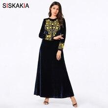 Siskakia Muslim Long Dress Velvet Floral Embroidery Long Sle