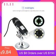 KKMOON Electronic Microscope 1000X 1600X Digital USB Interface Electronic Microscope Magnifier 8 LEDs + Metal Bracket Stand