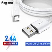 المصغّر USB كابل سريع شحن USB مزامنة بيانات الهاتف المحمول الروبوت محول كابل الشاحن لسامسونج سوني HTC LG 1m 2m 3m الكابلات