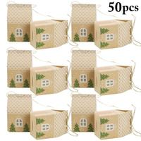 50PCS Christmas Candy Box DIY House Shape Tree Decor Party Favor Box Gift Box Cupcake Packaging Box Cupcake Treat Box