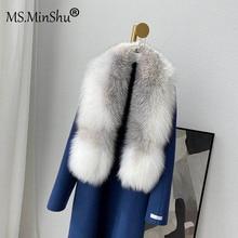 MS.MinShu Winter Thicker Natural Fox Fur Scarf Women Men Luxury Whole Fox Skin Collar Drop Shipping