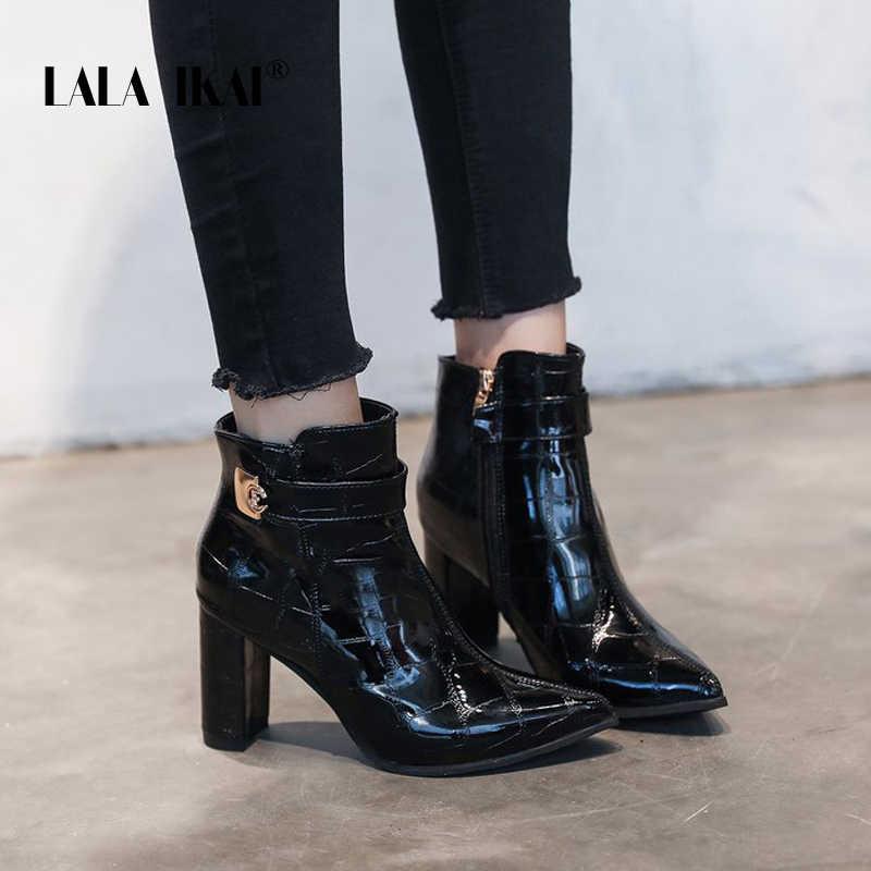 LALA IKAI çizmeler kadın sonbahar kış Pu deri yarım çizmeler kadın yüksek topuklu fermuar Chelsea çizmeler zapatos de mujer XWC6096-4