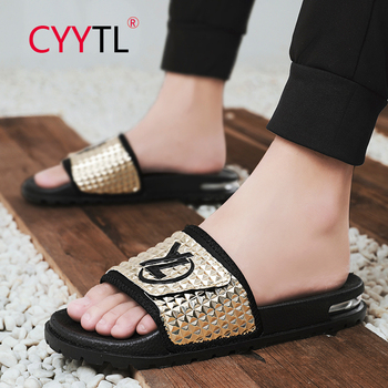 CYYTL Summer Men's Gold Light Symphony Air Cushion Slippers 2020 Fashion Soft Sandals Home Indoor Shoes Chinelo Masculino цена 2017