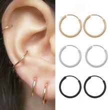 Modne kolczyki dla kobiet mężczyzn kolczyki małe kółka kość do ucha Aros małe ucho nos pierścień dziewczyna Aretes Ear Hoops tanie tanio CN (pochodzenie) Aluminium Unisex 20mm * 15mm Hoop kolczyki Klasyczny ROUND Metal Moda