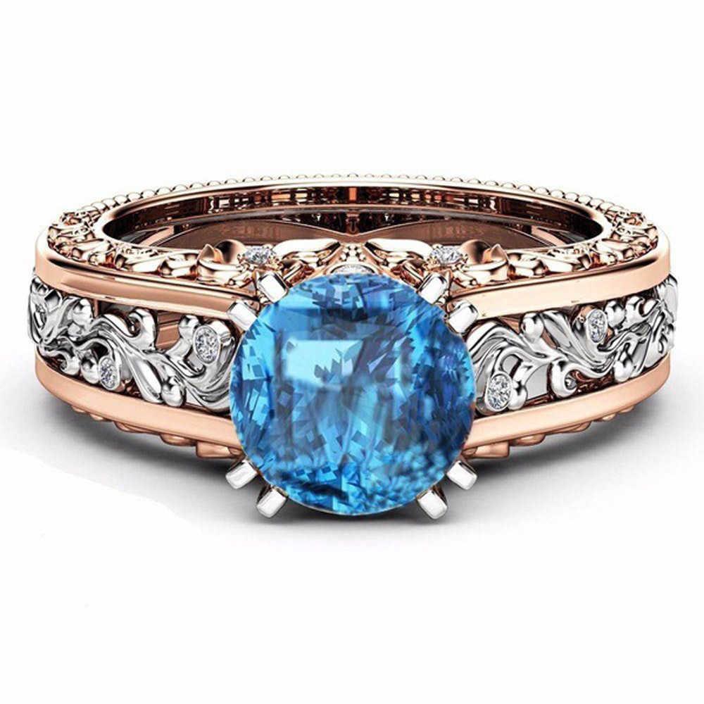 Синий кольца с бриллиантами Модные женские Цвет разделение цвета розового золота обручальное кольцо с цветочным принтом ко Дню Святого Валентина
