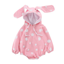 New Born Baby Romper Infant Baby Girls Polka Dot Print Rabbit Ear Bodysuit Baby Girls Cute Hooded Rompers Clothes Neonato #LR3 colorful dot rabbit print tee