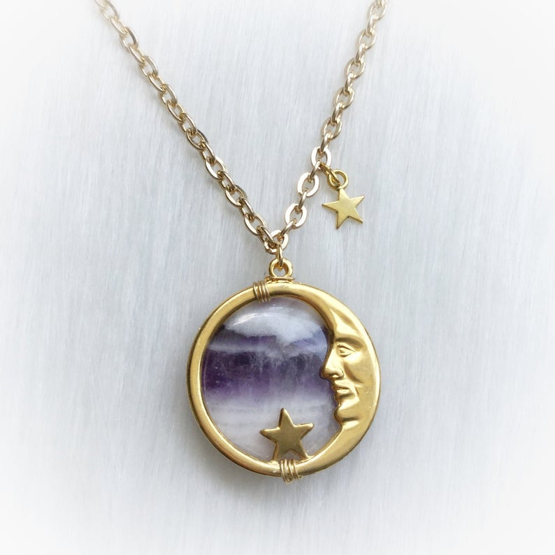 Vintage Amethyst Moon Face Necklace,Man In The Moon Pendant,Wicca,Witch,Pagan,Gypsy,Magic,Celestial,Witchcraft,Necklace,Stars