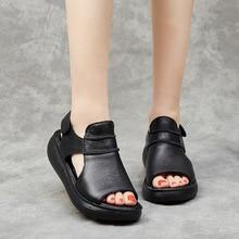 OUKAHUI Summer Genuine Leather Flat Platform Sandals Women 2021 Hook Loop 5.5CM Platform Peep Toe Women Sandals Gladiator Female