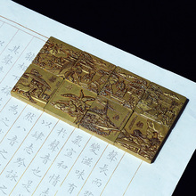 Exquisite Metal Relief Craft Paperweight Brass Paperweights Student Square Chinese Painting Calligraphy Rice Paper Pressing Prop