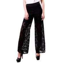 New Loose pants women Plus Size OL high waist Solid black trousers Hollow out straight Wide leg Pants