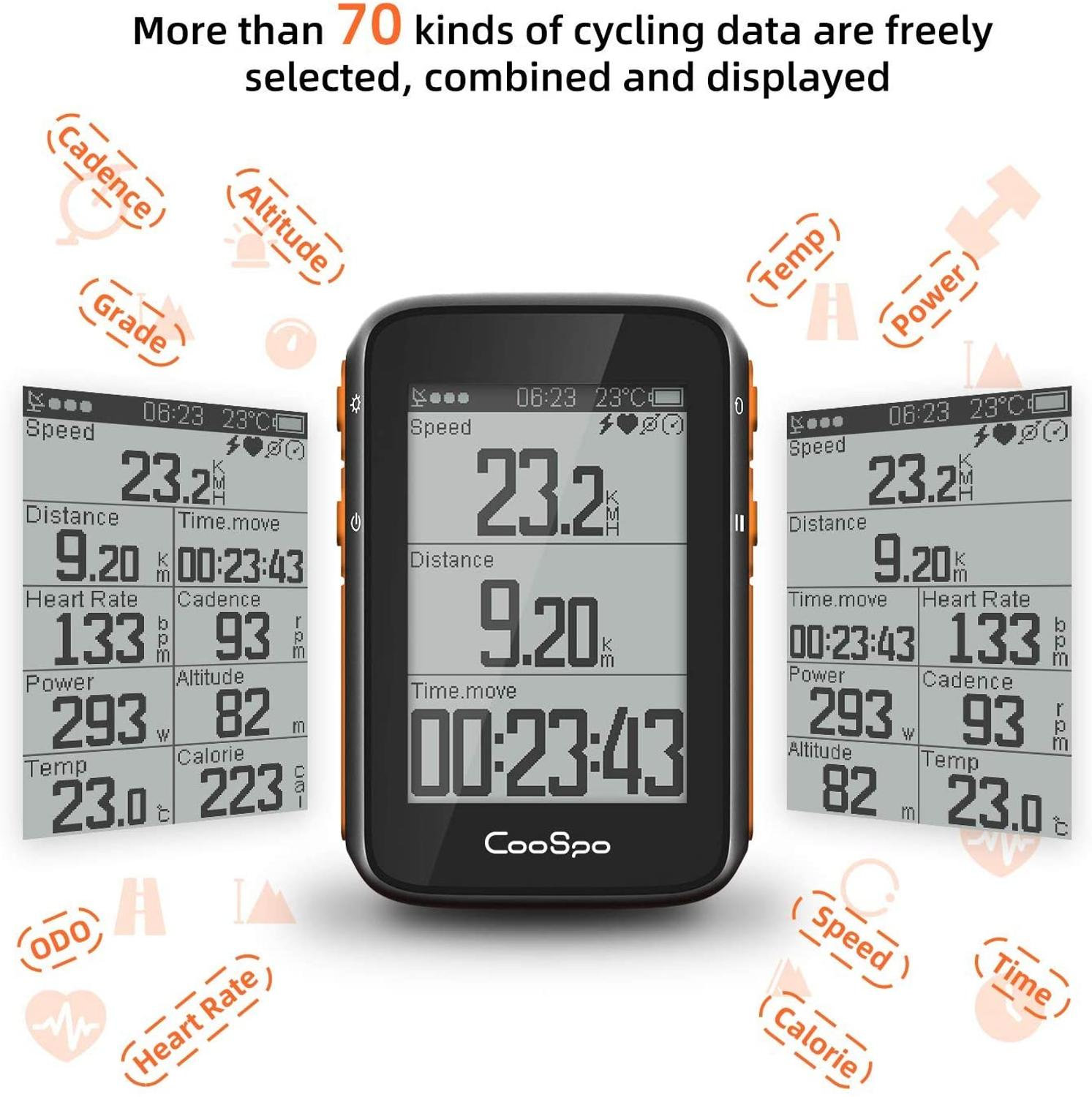 CooSpo Bike Computer GPS Wireless Cycle Speedometer Odometer 2.4 Inch with BLE5.0 ANT+ APP Sync Sensor Waterproof with Bracket-2