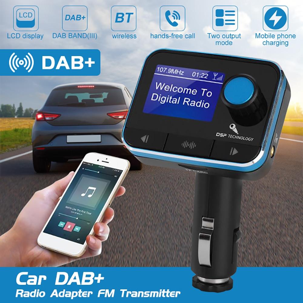 Car DAB Digital Radio Receiver Adapter Bluetooth Hands-Free Call FM Transmitters