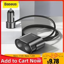 Baseus encendedor de cigarrillos con cargador para coche y teléfono, adaptador de cargador de coche USB Dual 3.1A 100W