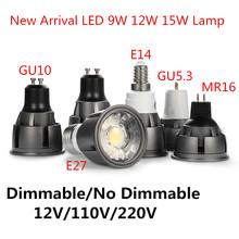 Super Bright możliwość przyciemniania GU10 GU5 3 E14 E27 MR16 COB 9W 12W 15W lampa z żarówką LED 85-265V 12V reflektor ciepły biały zimne białe światło led tanie tanio Dfiolk CN (pochodzenie) ROHS Ciepły biały (2700-3500 k) 3 w wysokiej mocy SALON 12V 110V 220V 500-999 lumenów Nieregularny