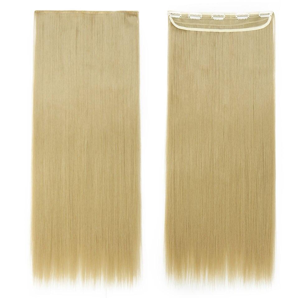 S-noilite, накладные волосы на заколках, черный, коричневый, натуральные, прямые, 58-76 см, длинные, высокая температура, синтетические волосы для наращивания, шиньон - Цвет: ash blonde