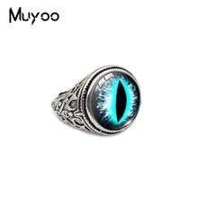 Novo vintage gato olhos cor dragão olhos de vidro cabochão anéis ajustáveis moda antiga cúpula cor anel presentes para homem