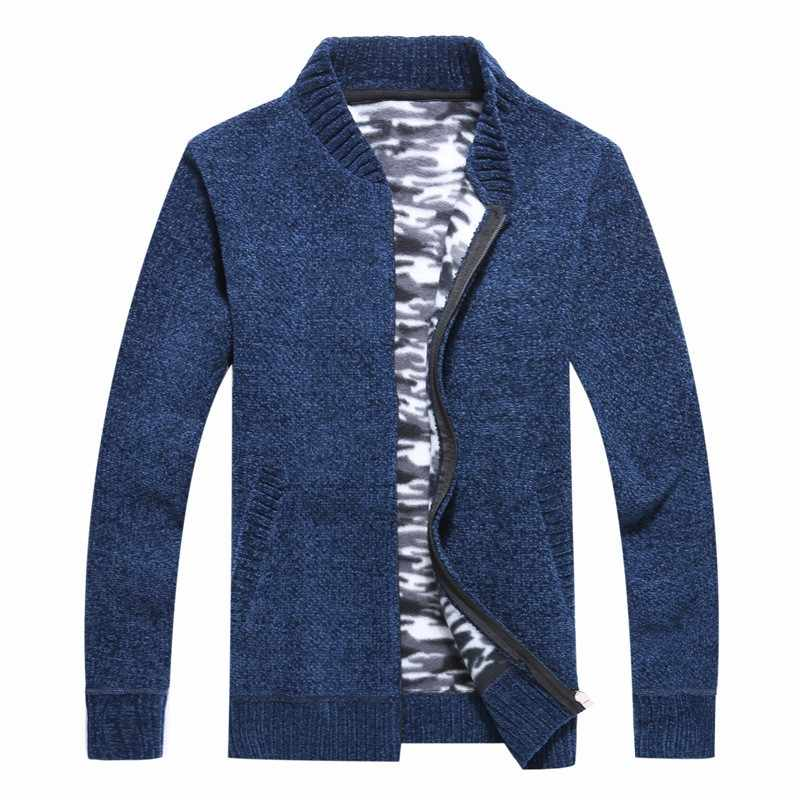 가을 겨울 캐주얼 양털 안감 따뜻한 망 카디건 스웨터 긴 소매 스탠드 칼라 지퍼 슬림 남성 두꺼운 Kniting 코트