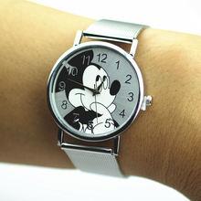 Часы женские кварцевые из нержавеющей стали с изображением Микки