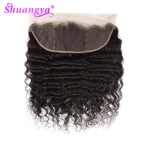 Shuangya hair Loose Deep Wave 13X4 Lace frontal and 4X4 Lace Closure 100% Remy Human Hair 8-20 Inch Swiss Lace Natural Hairline