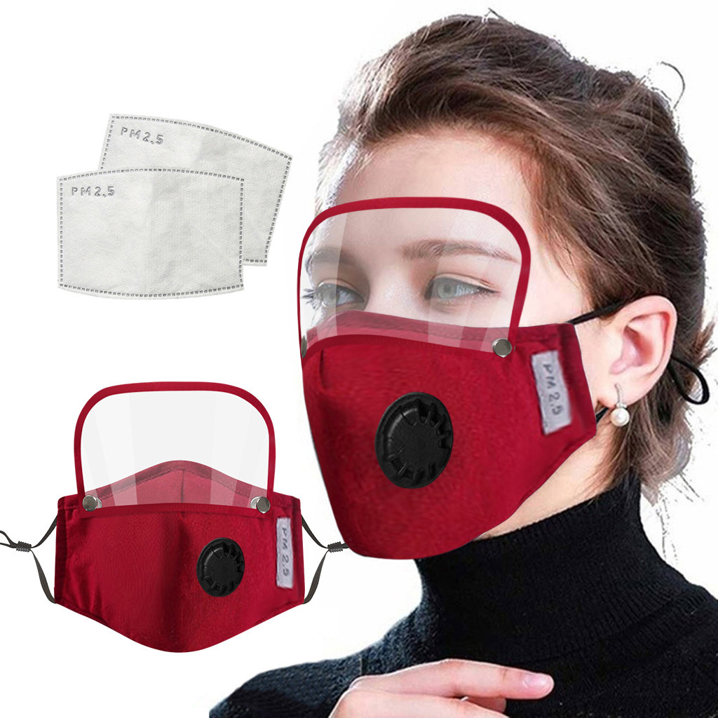 Adults Unisex Outdoor Dustproof  Mask Face Protective Face Mask With Eyes Shield Masks With Filters Washable Reusable#25|Women