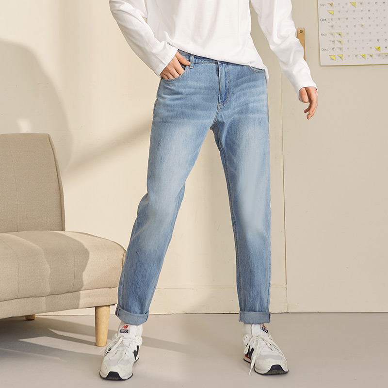 2020 Early Spring Men's Slim Feet Jeans Men's Trousers Trend Men's Pants 779