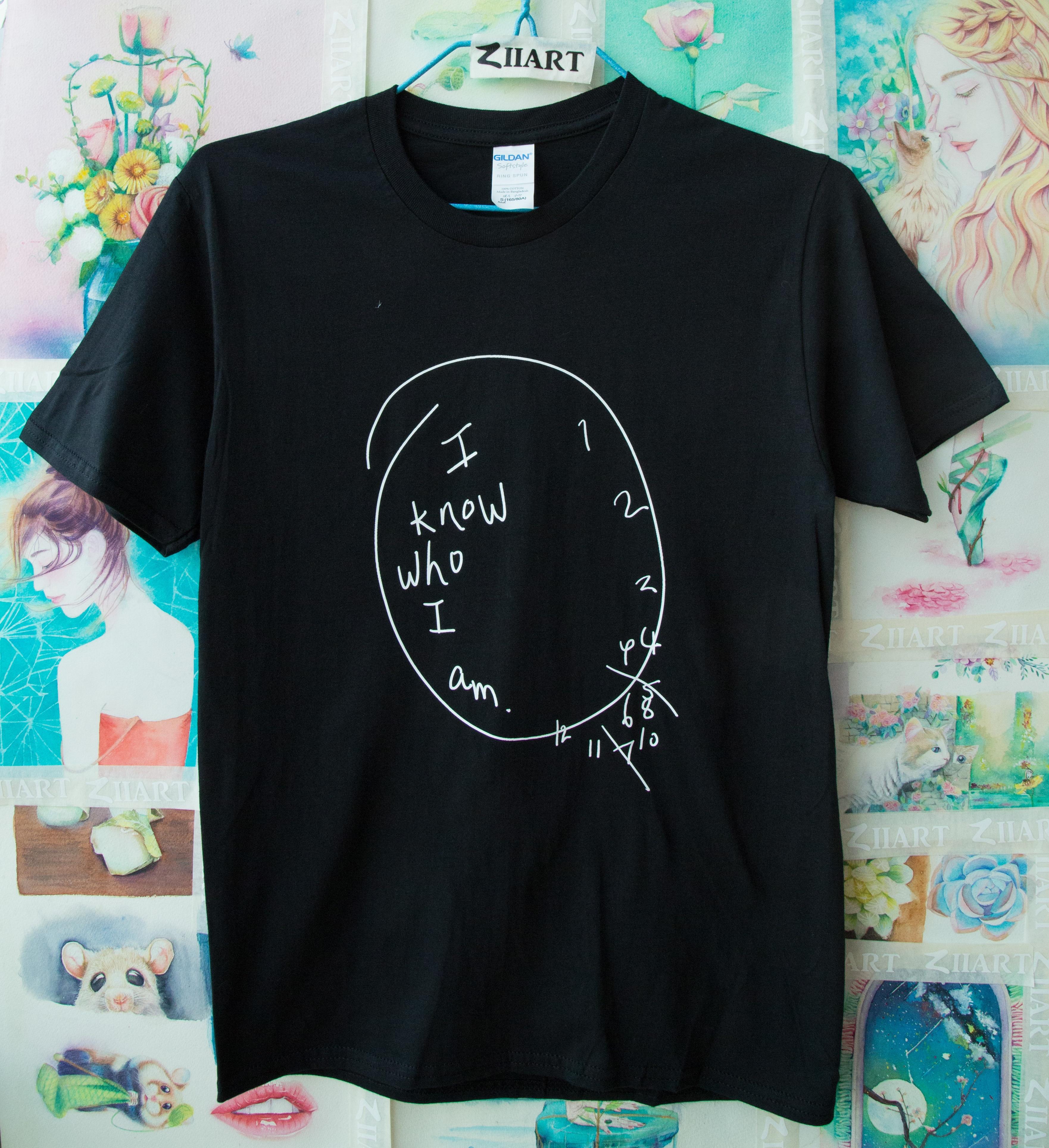 Черные настенные часы «Я знаю, кто я сейчас», Ганнибал, лектор, одежда для пары, Мужская хлопковая футболка с коротким рукавом и круглым вырезом для мальчиков