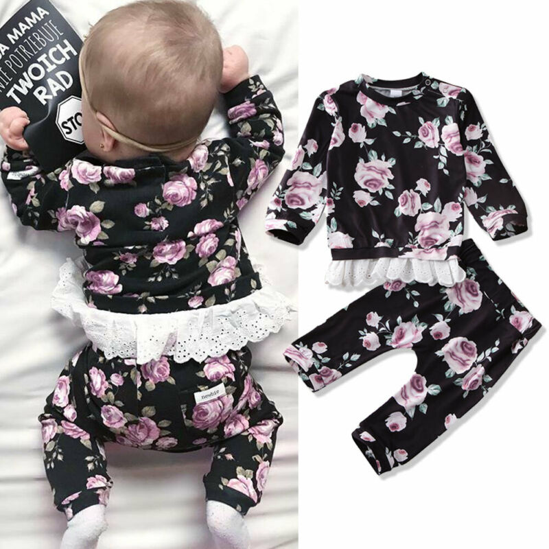 0-24 Months Newborn Baby Girl Clothes Flower Lace Tops + Pants Baby Girls Clothing 2020 Spring Autumn Baby Girls Cotton Clothes
