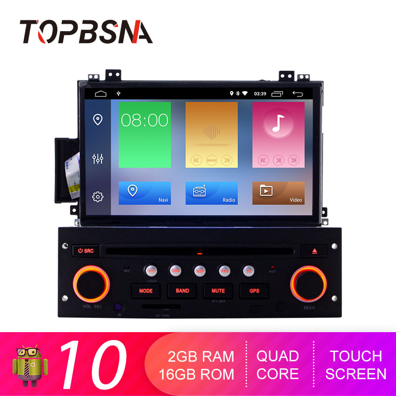 TOPBSNA 7 Inch Car DVD Player Android 10 For Citroen C5 GPS Navigation 1 Din Car Radio Multimedia Wifi Stereo RDS Headunit Audio