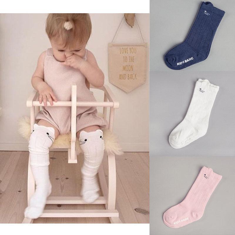 Toddler Socks Baby Knee High Sock Solid Color Children Black White Long Sock Infant Baby Girl Warm Leg Warmers Kids Cotton Socks