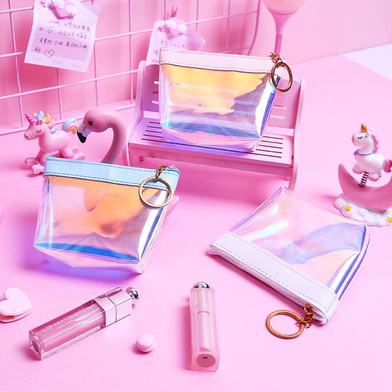 Japanese-style Harajuku Wind GIRL'S Heart Creative Pearl Laser Wallet Portable Carrying Purse Short Square Wallet