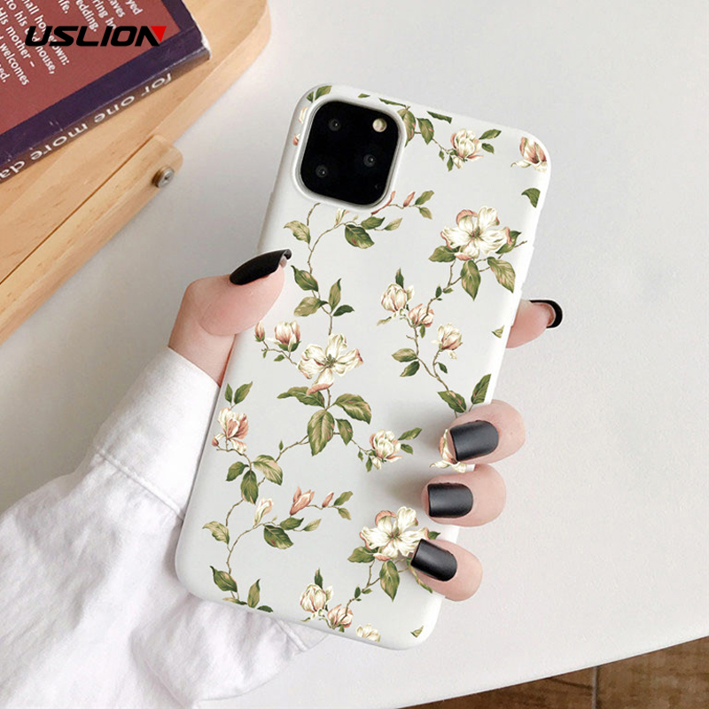USLION Art Flower Painting Phone Case For IPhone 11 X XR XS Max Soft TPU Back Case For IPhone 6S 7 8 7Plus 5S Daisy Floral Cover