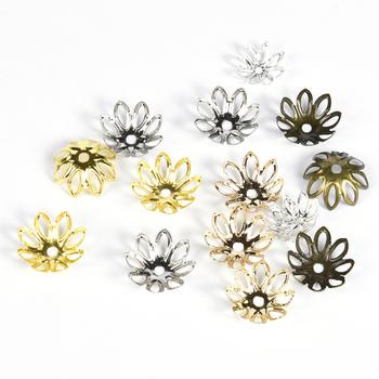 100 sztuk partia 11 14 mm kwiat koralik Cap ocena biżuteria Spacer filigranowe Charms koraliki czapki do tworzenia biżuterii tanie i dobre opinie Paciorek czapki 1 3cm 1 1cm Metal Ze stopu cynku JS092 Rhodium Bronze Gold Silver KC Gold Jewelry Bracelet Earrings Making
